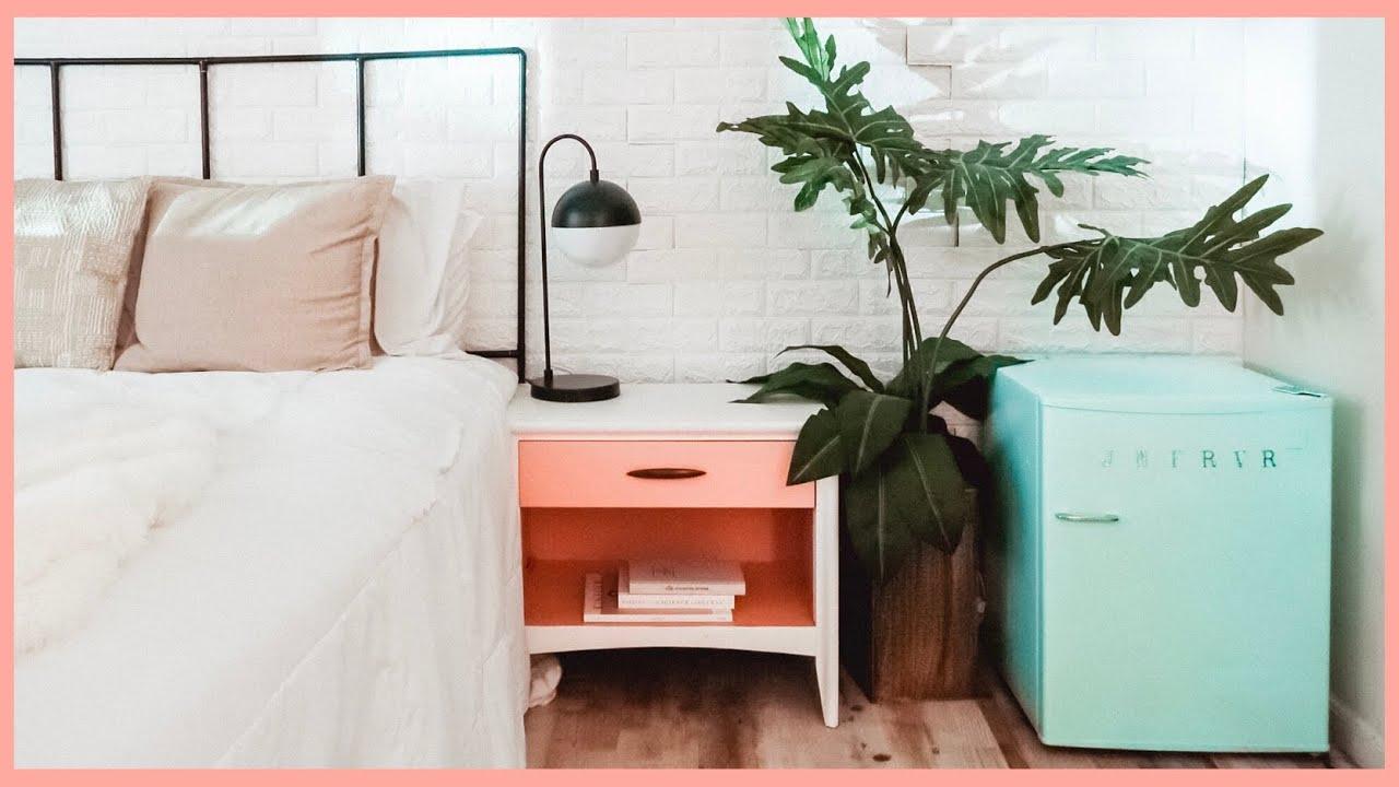 BEDROOM RENOVATION PART 2 | DIY Retro Mini Fridge, Bedroom ...