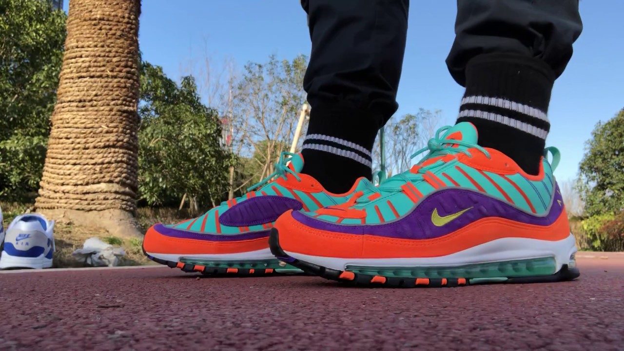 sports shoes b7a50 dbd91 AIR MAX 98  VIBRANT AIR  AKA  CONE  REVIEW AND ON FOOT!!!!! CRAZY HEAT !