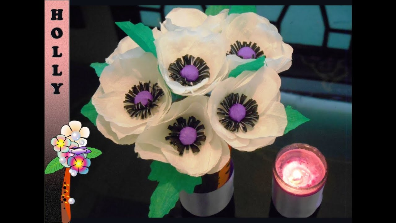 How to make paper flowers easy anemone youtube mightylinksfo