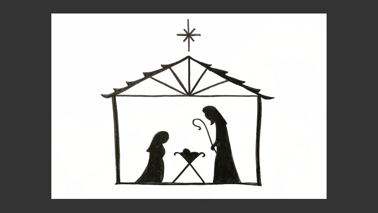 How to draw a simple Nativity scene - Christmas card idea ...