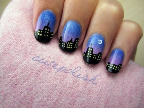 City Skyline Nail Art