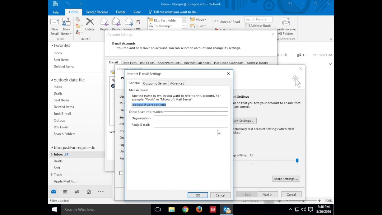 How to change your password in Outlook 2016 for Windows