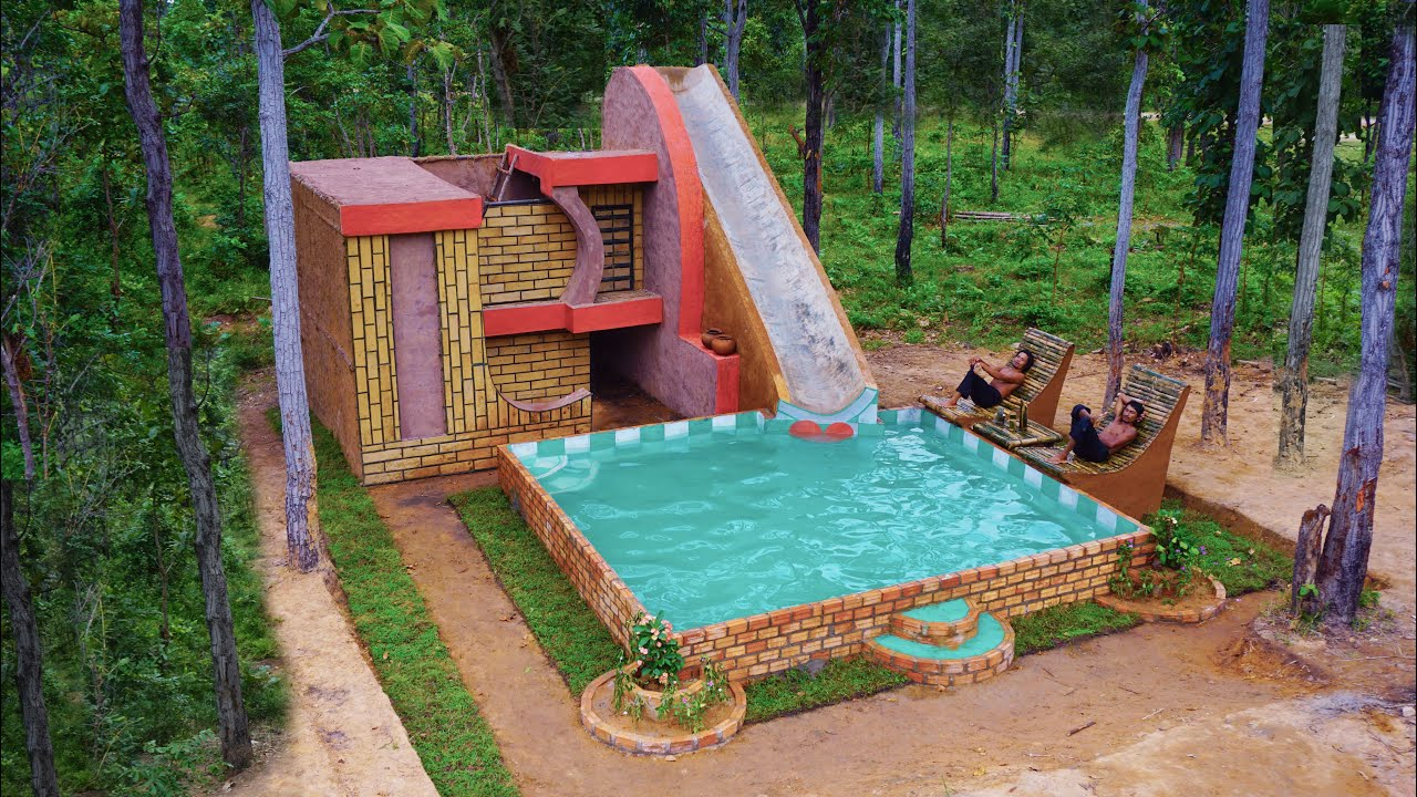 Creating Water Slide Park Into brick Swimming Pool On Modern Villa House By wooden brick