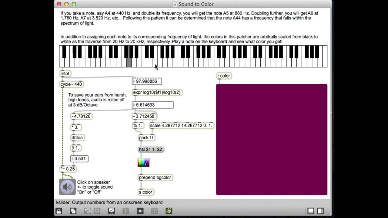 sound to color in max msp youtube