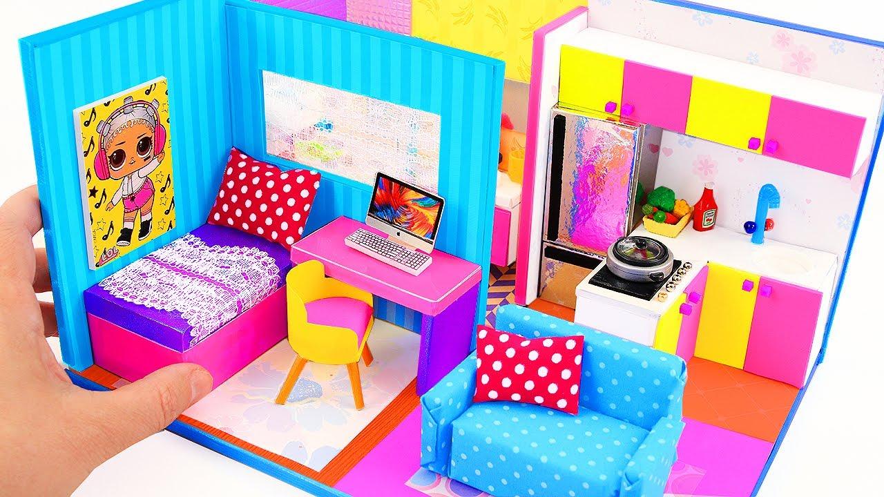 DIY CARDBOARD HOUSE ; DIY dollhouse