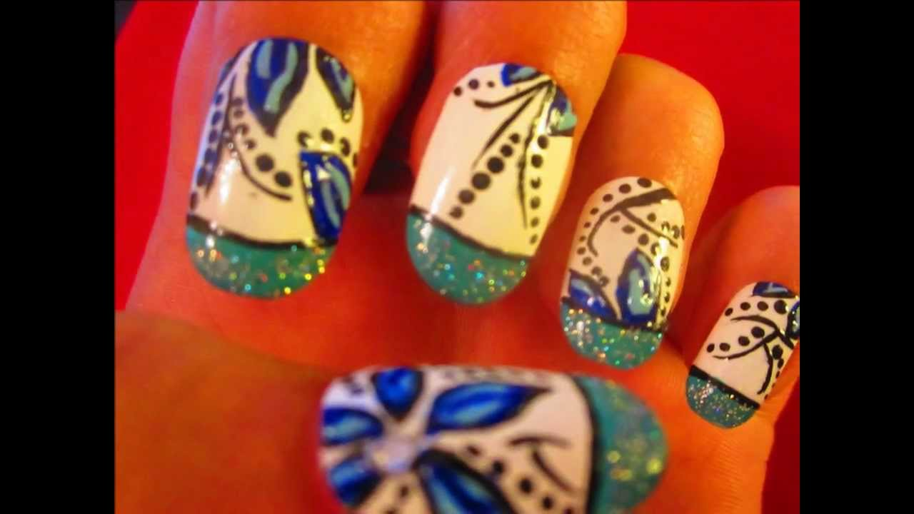 Nail Art Tutorial For Beginners Blue Floral Design Youtube
