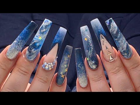 long acrylic nails midnight stars blue nail design 💙  youtube