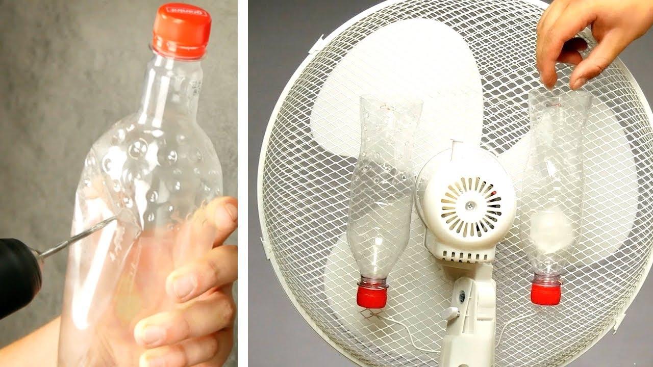 Attachez 2 bouteilles en plastique au ventilateur ! 20 astuces pour vous faciliter la vie cet été