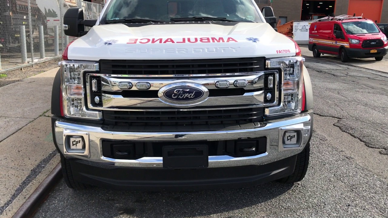 SUPER EXCLUSIVE 1ST VIDEO WALK AROUND OF BRAND NEW FORD F-550 FDNY EMS  AMBULANCE NOW IN SERVICE
