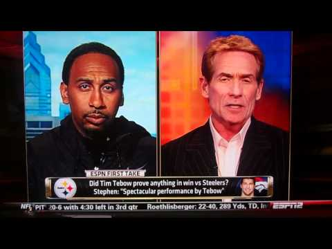 Stephen A. Smith reacts to Tebow`s first Playoff win