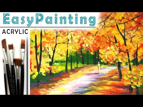 How to paint beautiful fall forest LANDSCAPE! Acrylic paint tutorial for beginners. Tree painting 如何