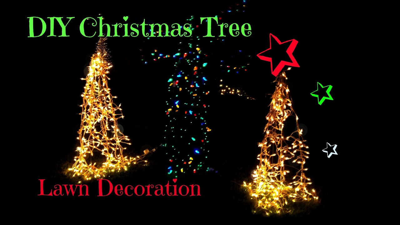 Diy christmas tree yard decoration doovi for Christmas tree lawn decoration