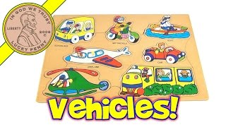 Wood  Peg Puzzle - Vehicles- Train, Boat, Motorcycle, School Bus, Helicopter, Airplane, Car