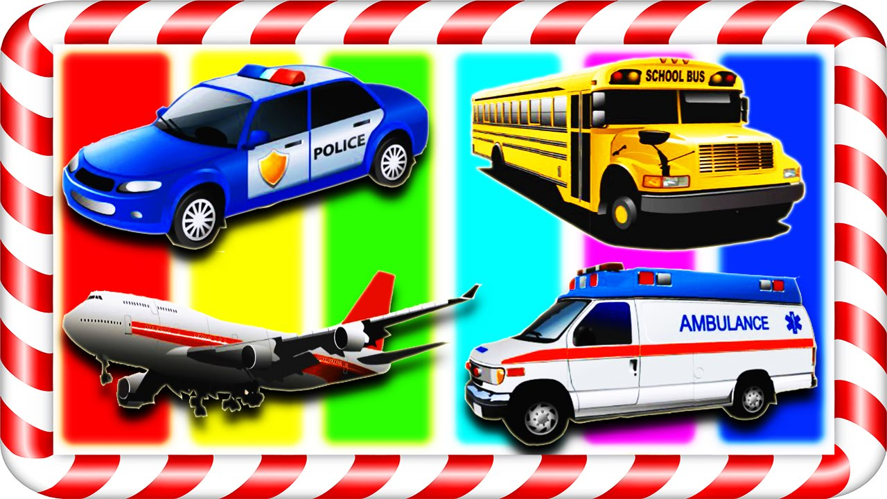 School Bus, Police Car, Ambulance, Airplane. Vehicles For