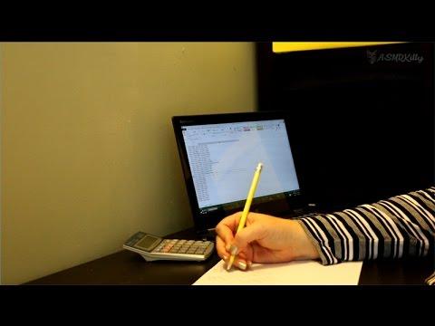 ASMR Accounting - Pencil writing, calculator tapping, keyboard typing (no talking) thumbnail