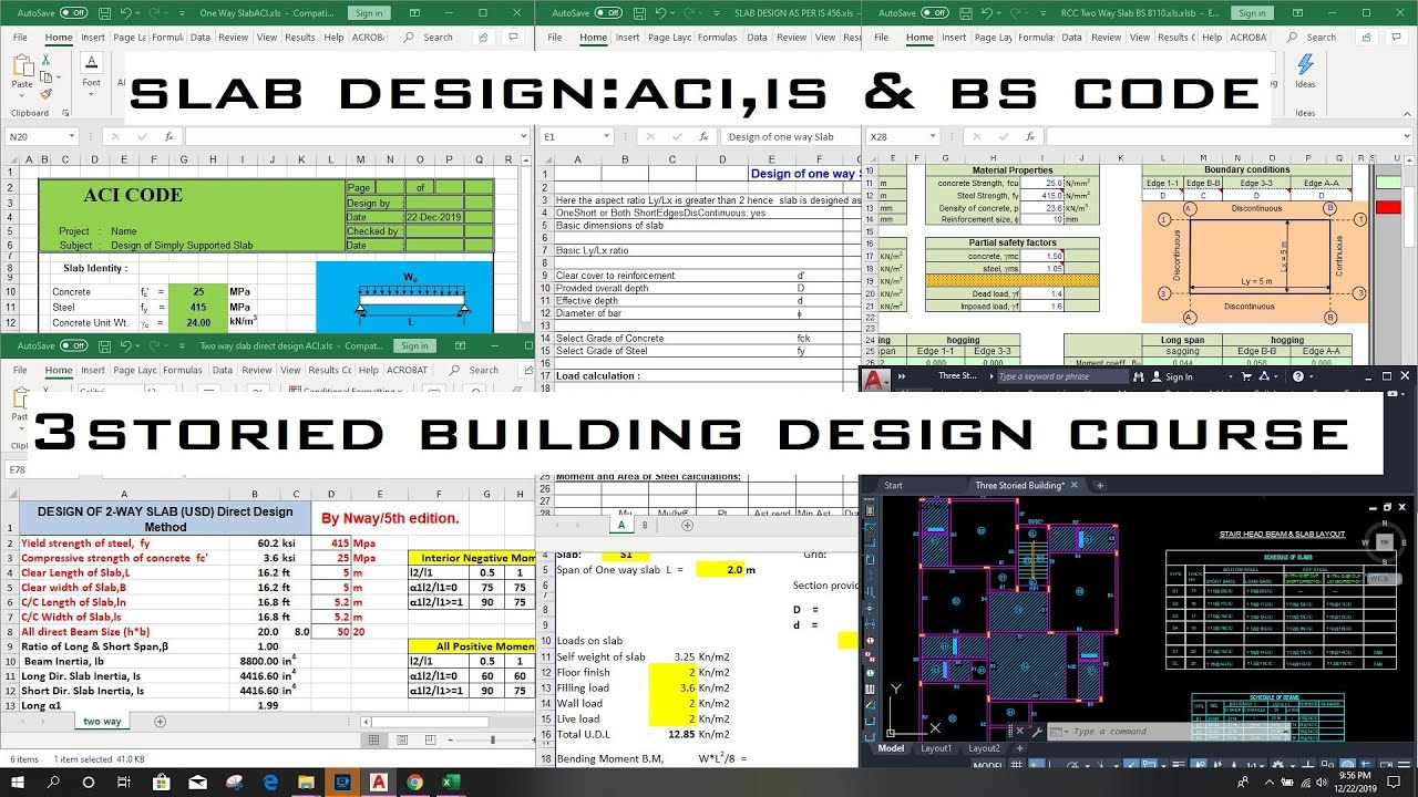 One Way And Two Way Slab Design As Per Aci Is Bs Code With Excel Revit News