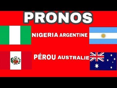 MES PRONOS POUR LES MATCHS NIGÉRIA ARGENTINE ET PÉROU AUSTRALIE
