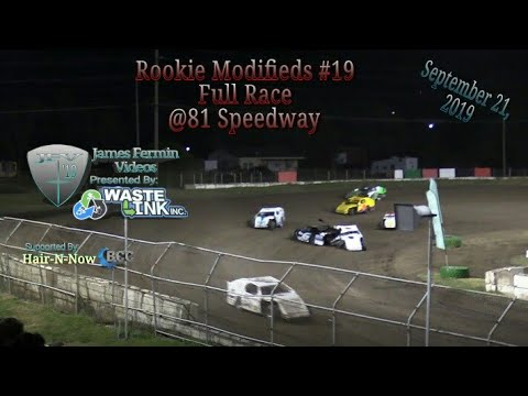Rookie Modifieds #19, Full Race, 81 Speedway, 09/21/19