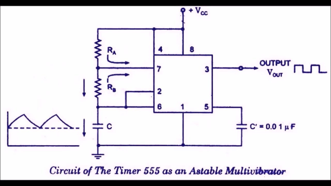 Circuit Diagram 555 Timer Monostable Chip Data Sheet Multivibrator Circuits Electronics Astable And Mono Stable Using Ic Youtube