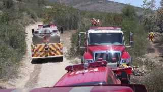CAMP PENDLETON!  Marine Corps Air Station Firefighters Contain Fire Near East Miramar!