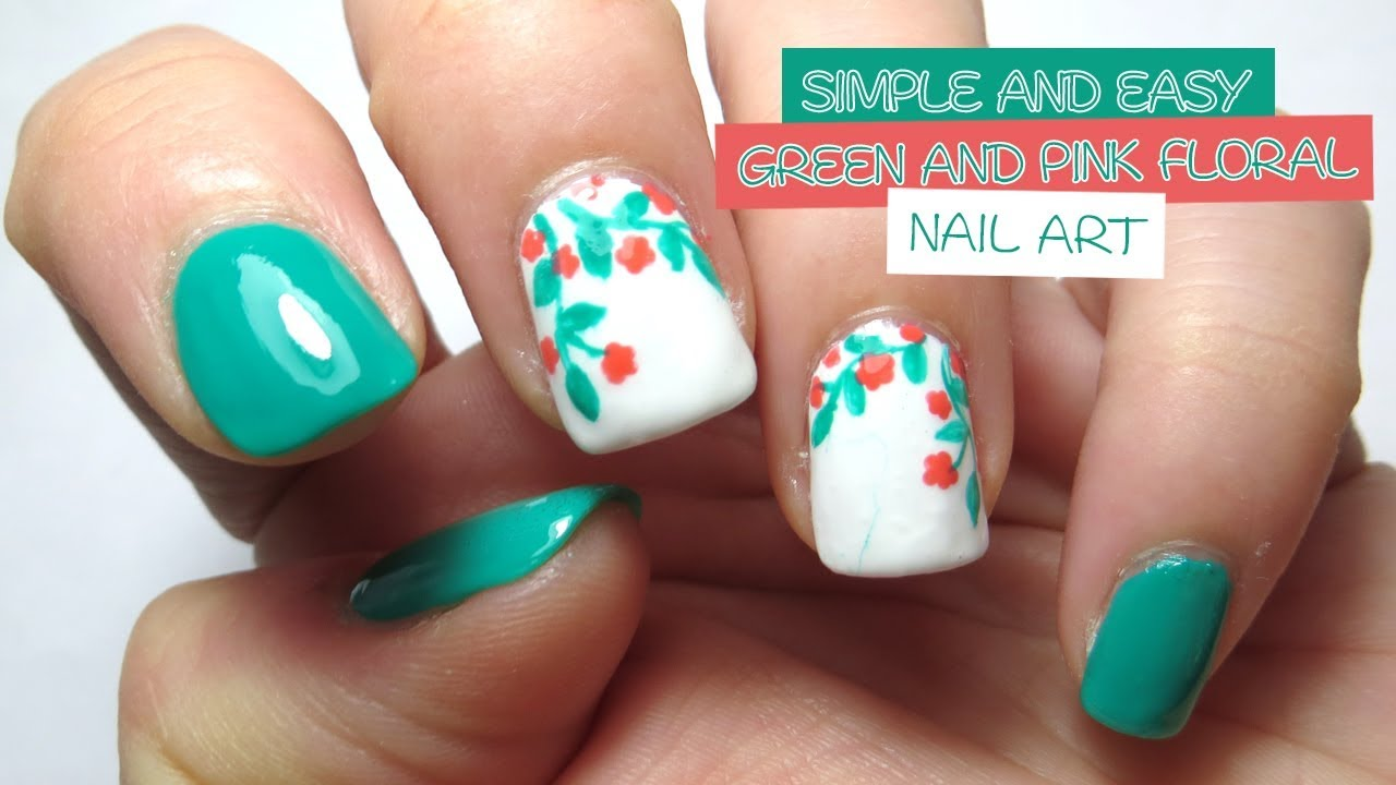 Simple and Easy Green and Pink Floral Nail Art - YouTube