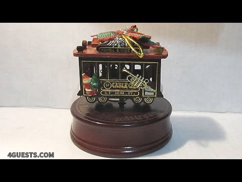 San Francisco Cable Car Wooden Christmas Ornament Wind-up Music Box