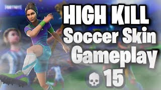 High Kill Soccer Skin Gameplay Intense Build Offs -  Fortnite Battle Royale