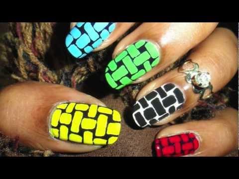 Basket weave nail art hd olympic colors nail arts video nail art prinsesfo Images