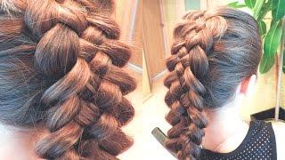 Эффектная прическа на длинные волосы | Объемная коса из пяти прядей