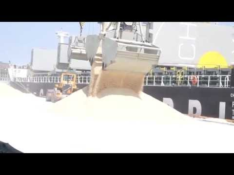 Bulk Cargo Ship unloading Rock salt in the Port of Saint John