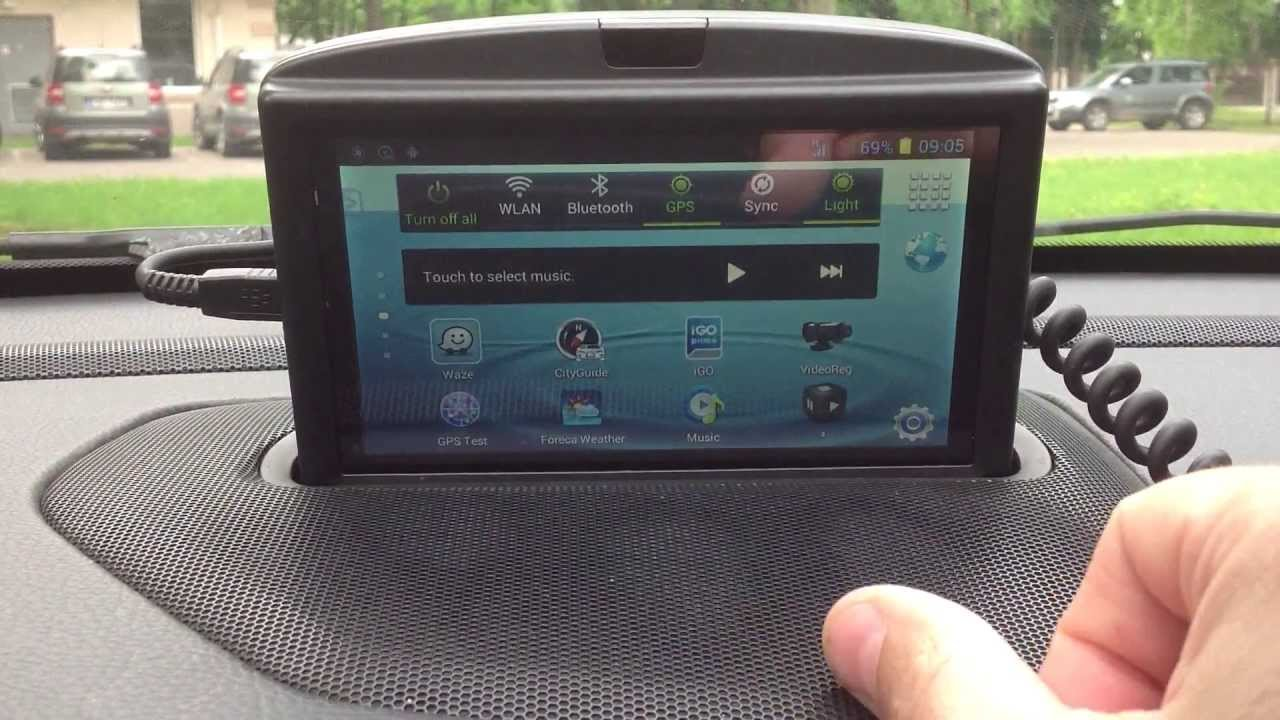 """Демонстрация крепления 6"""" Android телефона N9776 в рамке Volvo RTI и работа экранных кнопок LMT"""