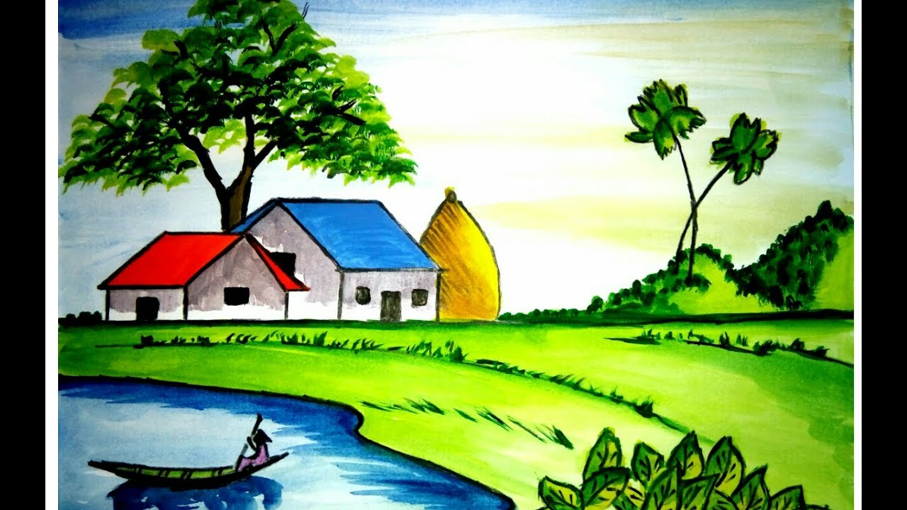 How To Draw A Scenery Of Village House Landscape With Watercolour