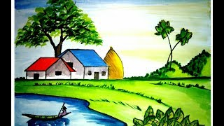 How to draw a scenery of village house landscape with watercolour (very easy)