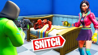 He Was HIDING IN BED! (Fortnite Snitch Hide And Seek)