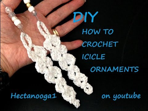 diy, CROCHET ICICLE pattern, Christmas Ornament, and how to stiffen crochet, holiday decorations