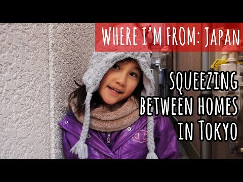 Squeezing Between Homes in Tokyo, Japan