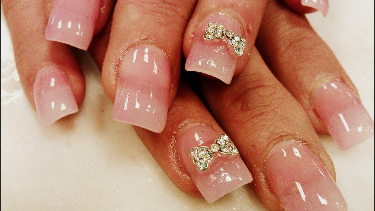 diamond bow 3d nails