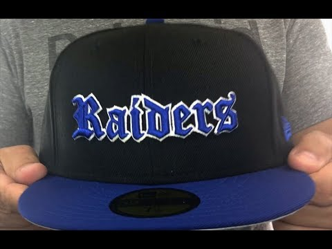 Raiders  GOTHIC TEAM-BASIC  Black-Royal Fitted Hat by New Era - YouTube be79d583939