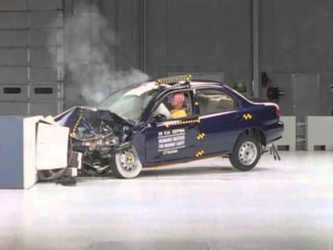 1999 Kia Sephia moderate overlap IIHS crash test