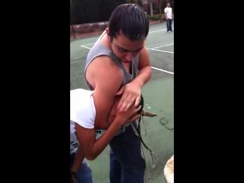 Peewee gets ass in head lock - YouTube  Funny Headlock