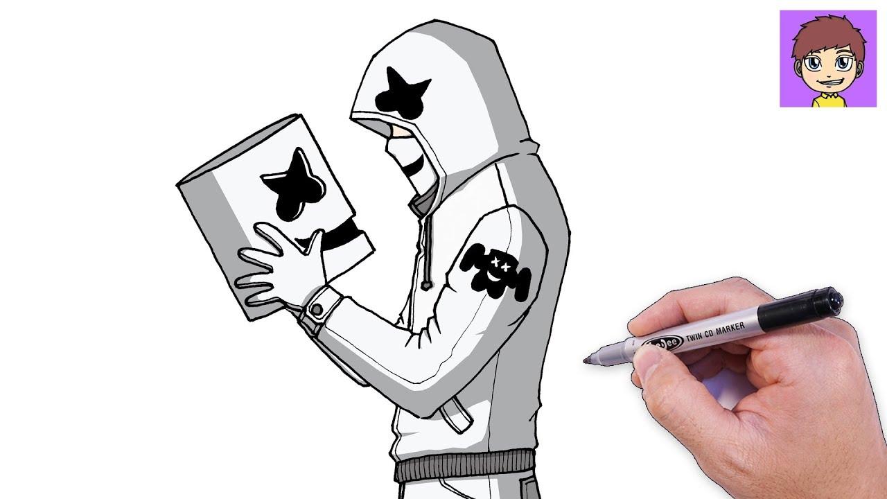 Dibujos Faciles De Colorear: Como Dibujar A Marshmello Paso A Paso