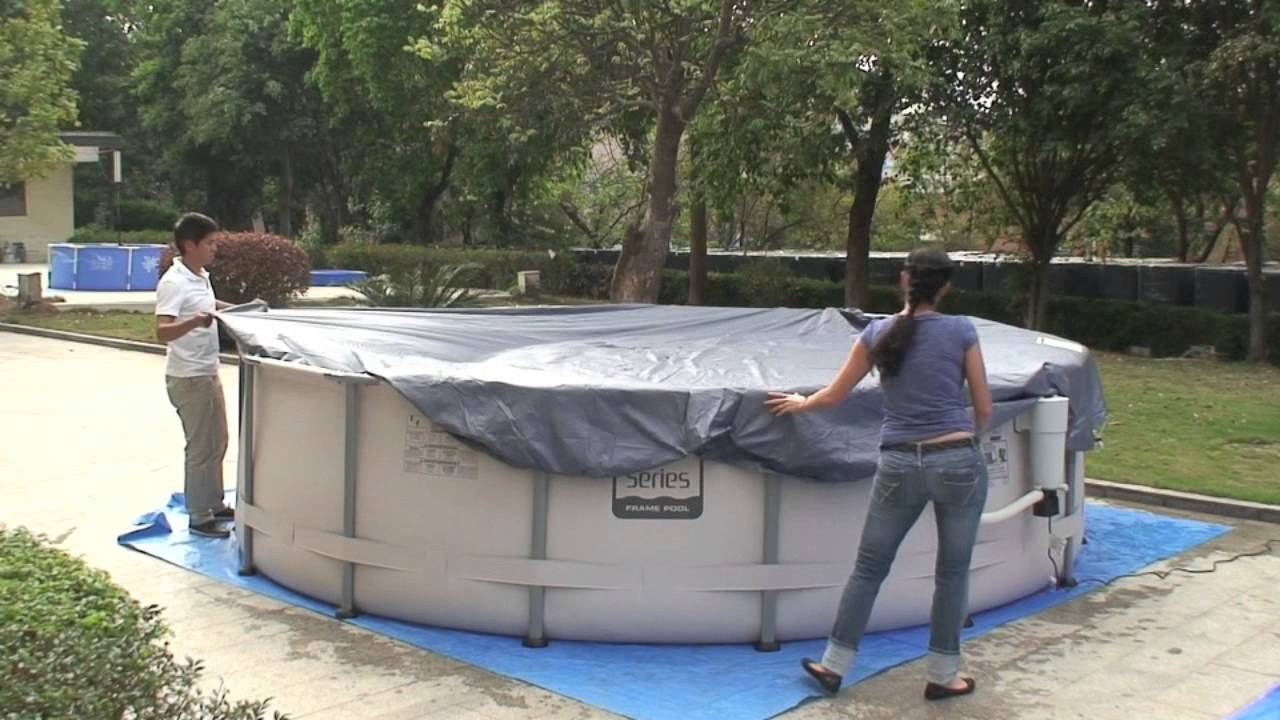 Applying a Cover for Frame Pool - YouTube