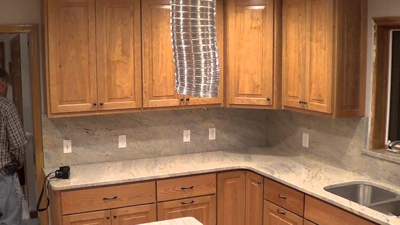 Cashmere Creme White Granite Countertop Outlets IN The Backsplash U0026 Drop In  Stove   YouTube