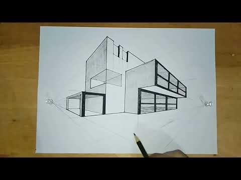 Cara Menggambar Bangunan Dengan Perspektif 1 Titik Hilang Gambar Teknik Youtube
