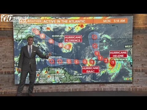 Tracking Hurricanes Florence, Helene and Isaac (Recorded the morning of 9/10/18)