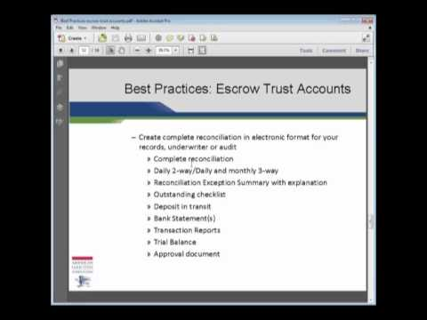 Best Practices: How to Document Your Escrow Trust Account Po