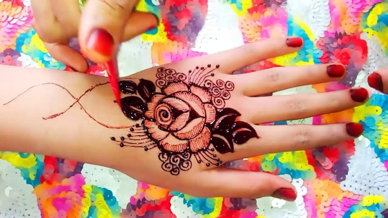 rose wali mehndi design