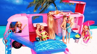Download lagu Two Barbie Ken Dolls Unboxing: Dream Camper Morning Routine Casa House 캠핑카 수영장 놀이 인형놀이 드라마 | 보라미TV