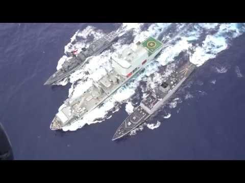 RIMPAC HAWAII 2018 : Chilean, Indian, and Royal Canadian navies resupply at sea