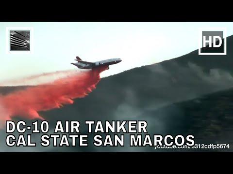 DC-10 Super Tanker drops Fire Retardant at Cal State San Marcos Cocos Fire